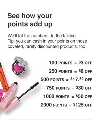 Cash in 100 points for $3 off; 500 for $17.50; 750 for $30; 1,000 for $50; and 2,000 for $125.
