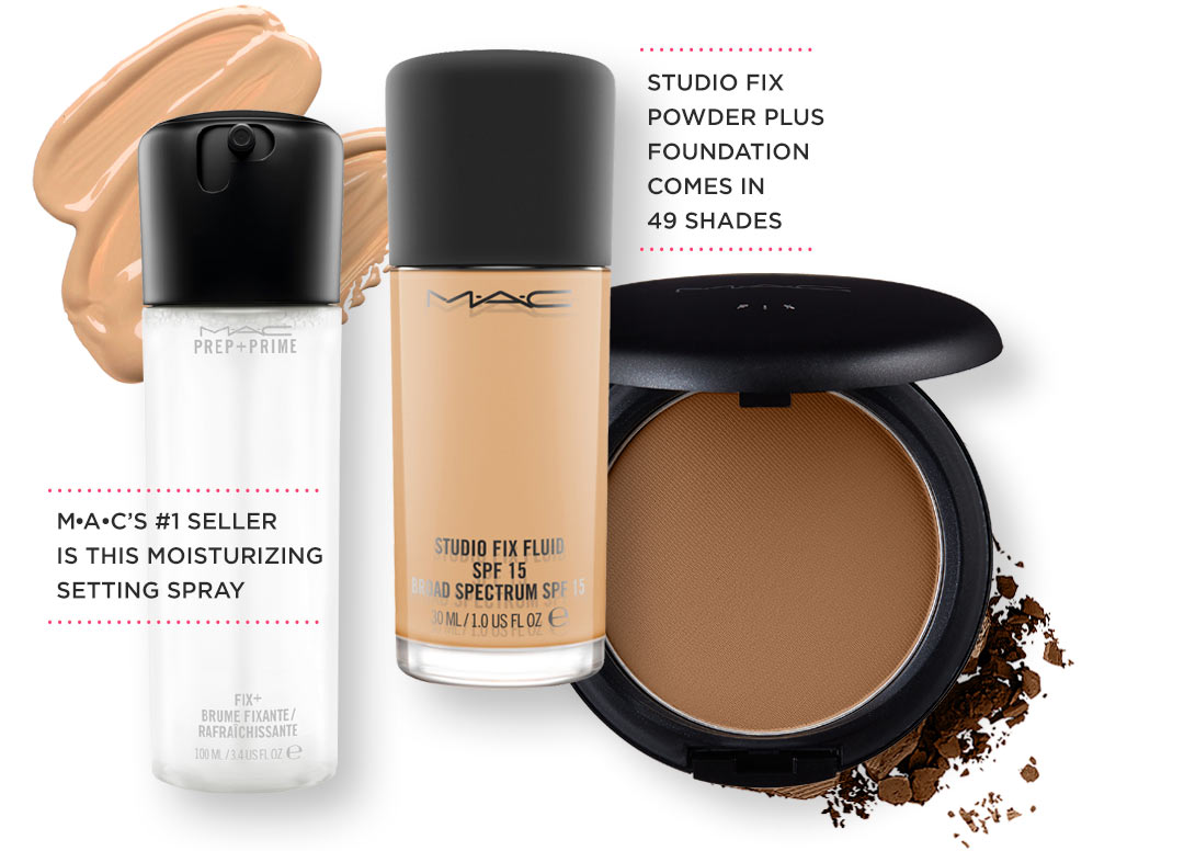 Studio Fix Fluid and Dark Powder Foundation are smeared and crumbled next to the MAC Moisturizing